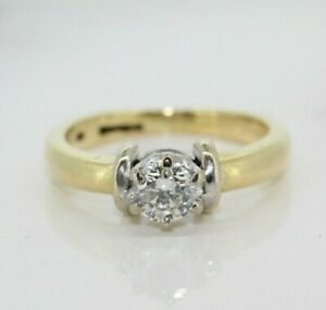 18ct Yellow Gold 0.38ct Diamond Solitaire Engagement Ring (Size H 1/2, US 4 1/4)