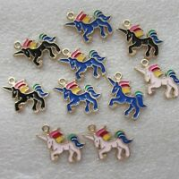 5 - 30 Unicorn Charms Enamel Colourful SP Gifts Jewellery Making Pendant 20mm