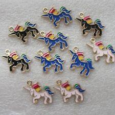 50Pcs//set Pink Unicorn small horse Charm pendant enamel alloy accessory 21x15mm
