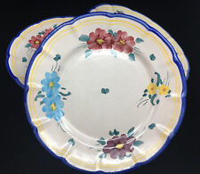 Vietri Solimene Italy Gumps Blue Yellow Pink 3 Dinner Plates Campagne Flowers ?
