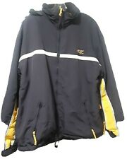 American Eagle AE77 Performance Coat with rollaway hood navy yellow EUC Adult L