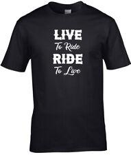 Biker T Shirt Live to Ride, Ride to Live Mens Motorcycle Black Shirt S-5XL