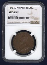 AUSTRALIA GEORGE V 1932 1 PENNY COIN, ALMOST UNCIRCULATED CERTIFIED NGC AU-50-BN