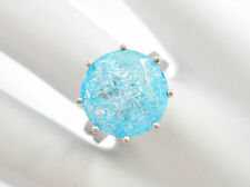 Sterling Silver Round Blue Stone Solitaire Ring Sz 6.5 #2857