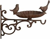 Bird Bath & Feeder With Traditional Wall Bracket Bird Bath Feeder CAST IRON