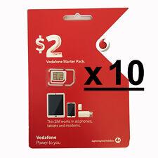10 x VODAFONE AUSTRALIAN PREPAID MOBILE 3G 4G STANDARD MICRO NANO SIM CARD PACK