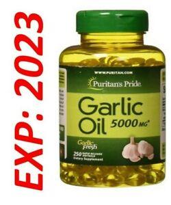Garlic Oil 5000 MG 250 Softgels Cholesterol Cardiovascular Health Fresh Pills
