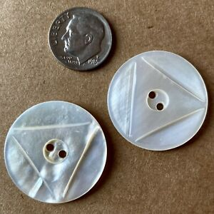 """Two 1-1/8"""" Round Carved Triangle Mother of Pearl Button, Antique Victorian"""