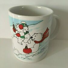 Vintage Coca Cola Mug 1996 - Polar Bear Family Holiday Christmas - Authentic