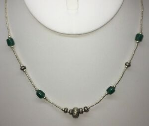 """NWT Sterling Silver 18"""" Necklace w/ Jade Green Beads & Sterling Silver Beads"""