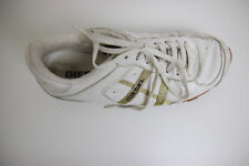 Diesel Sneakers Size 8.5 Avy Style White Leather and Gold Lines and accents