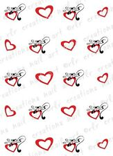 20 Nail Decals VALENTINE CATS WITH HEARTS Water Slide Nail Art Decals Nail Art