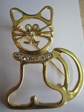 Open Work Gold Tone With Crystal Rhinestone Eyes and Colar Cat Brooch