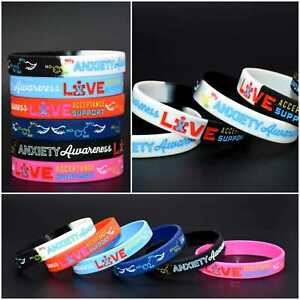 Anxiety Mental Health Acceptance Awareness Silicone Bracelet Wristband Band