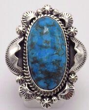 Navajo Handmade Kingman Turquoise Ring Set In Sterling Silver-Gilbert Tom 8