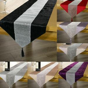 31x183cm Tischläufer Tischband Diamante Samt Bettumrandung Bettläufer Schwarz
