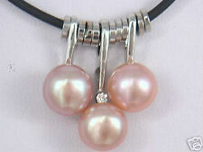 """Manmade 3 Beads pink Pearl Pendant Black Cord Necklace 17""""AAA"""
