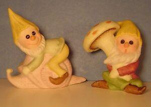 """Gnome Elf Figurines Vtg Bisque 2 MISTER MISCHIEF Snail Mushroom Fairy Garden 3"""""""