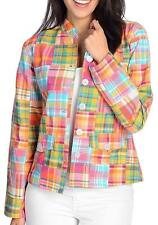 NEW OSO Casuals® Woven Plaid Long Sleeved Two-Pocket Patchwork Jacket Sz M