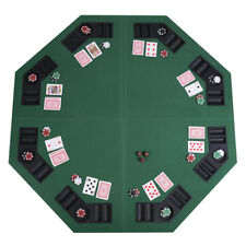 """48"""" Green Octagon 8 Player Four Fold Folding Poker Table Top & Carrying Case New"""