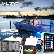 LED 8pc Boat Interior Lighting Kit with Multi-Color Light Features+Remote+Brake