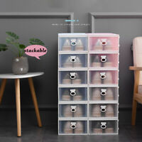 1/2X Shoe Storage Box Rack Organiser Cabinet Shelf Drawer Stackable Case Plastic