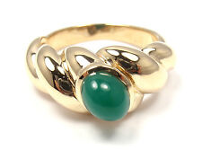 RARE! AUTHENTIC VAN CLEEF & ARPELS VCA 18K YELLOW GOLD CHALCEDONY BAND RING