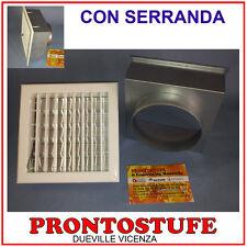 Bocchetta ventilazione caminetti inserti griglia aria 140mm CON SERRANDA