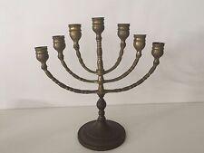 "Vintage Brass Jewish Menorah Candelabra 7 Arm Branch Candle Holder, 10 1/2"" Tall"