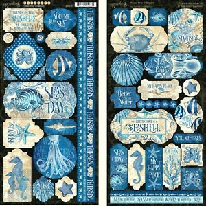 """Graphic 45 Ocean Blue Collection 12"""" Cardstock Tag Label Border Sticker"""