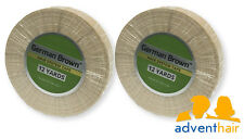 "German Brown Liner Cloth Hairpiece Tape Roll 3/4"" x 12 yards toupee wig 2 rolls"