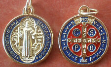 """Saint St. Benedict Medal Gold tone with Red and Dark Blue Enamel + 3/4"""""""