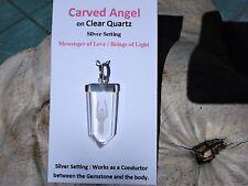 Angel Carved Clear Quartz Silver Pendant-Messenger of Love-Light Guardian Angel