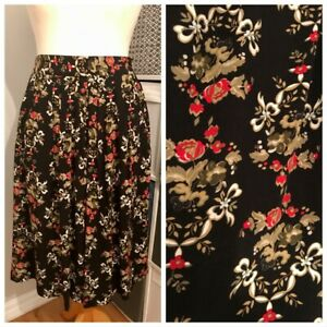 True Vintage Rayon Black Floral Midi Skirt Size M Cottagecore Pockets