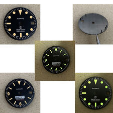 28.5mm Watch Dial Green Luminous with Calendar Window DIY for NH35/NH36 Movement