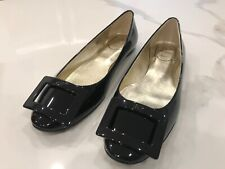 Roger Vivier Gommette Black Patent Womens Ballet Flat with RV Buckle Size 37