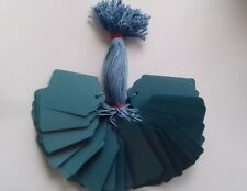 100 BLUE STRUNG PRICE TAGS 69MM X 44MM SWING TICKETS