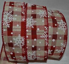 """Wired Ribbon~Christmas~Woven Holiday Red~White Snowflake~Tan Plaid~1.5""""~Gift~Bow"""