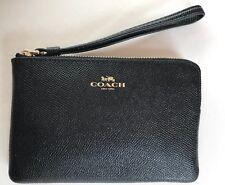 NWT COACH Corner Zip Wristlet Wallet Purse Crossgrain Leather Black F58032