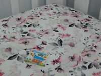 Floral Cot Sheet Fitted White Poppy Pure Cotton Fits to 70 x 130cm mattress