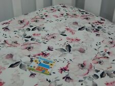 Floral Cot Sheet Fitted White Poppy Pure Cotton Fits to 79x130cm mattress