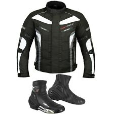 Men Motorbike Leather Boot Motorcycle Clothing Racing Jacket Coat Waterproof CE