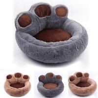 Plush Pet Kitty Basket Paw Design Round Soft Puppy Bed Washable Dog Nest Cat Mat