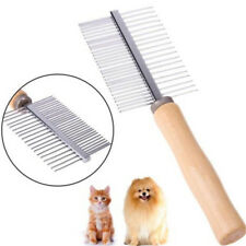 Pet Dog Hair Brush Stainless Steel Pin Wooden Handle Comb Grooming Trimmer