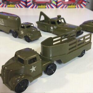 "VINTAGE PYRO HARD PLASTIC MILITARY GREEN USA ARMY SEMI HAULER STAKE TRUCK 5.5"""