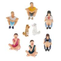 1:64 Scale Painted Figures Sitting and Squating People Model Figurine Doll