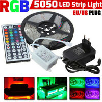 5M RGB 5050 Non Waterproof LED Strip light SMD W/ 44 Key Remote 12V Supply Power