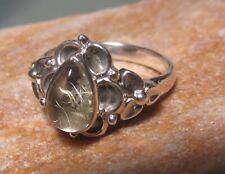 Sterling silver everyday RUTILATED QUARTZ ring UK M½-¾/US 6.75. UK Seller