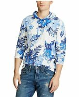 MEN'S SZ L Polo RALPH LAUREN LONG SLEEVE HOODED T-SHIRT White/Blue Floral Print