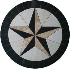 MARBLE FLOOR MEDALLION MOSAIC TRAVERTINE AND GRANITE 36 TEXAS STAR